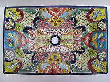 "21"" RECTANGULAR TALAVERA SINK vessel mexican bathroom handmade ceramic folk art"