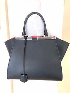 Fendi 3 Jours Navy Blue & Red Leather Shoulder Bag.
