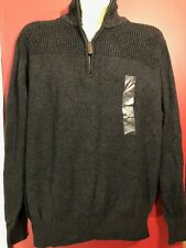 FIELD & STREAM 1871 Men's 1/4 Zip Charcoal Knit Sweater - Size Large - NWT $70