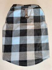 New listing L Cozy Fleece Blue Grey Plaid Jacket New! Average Dog Cute!