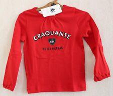 Neuf : Tee-shirt PETIT BATEAU 4 ans coton rouge craquante manches longues fille