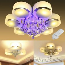 LED E27 Kristall Deckenlampe Hängeleuchte Kronleuchter Fernbedienung Lüster