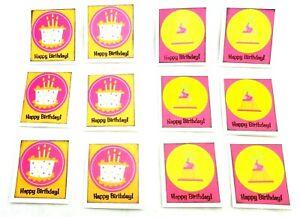 BIRTHDAY Cake & Hat GIFT TAGS 12 Pack Lot - Handmade - Scrapbooking Cardmaking