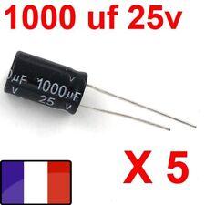 1000uf 25v LOT 5X CONDENSATEURS CHIMIQUE 1000µF 1000MF 1000uF 25V RADIAL 105° 5x