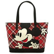 Loungefly Disney Mickey Mouse Cartoons Red Plaid Tote Handbag Purse WDTB1751