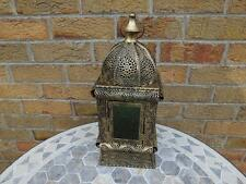 Large Moroccan Style Brushed Metal Candle Lantern with Domed Top.