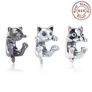 Charms Bead Verspielte Katze Kater Tier Pfote silber grau für Pandora Silber 925