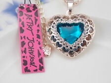 Stunning Betsey Johnson Swarovski Crystal  Blue Gold Heart Pendant Necklace NWT