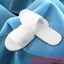 10XPAIRS MEN WHITE TOWELLING/TERRY HOTEL SLIPPERS TOE SPA GUEST SHOES DISPOSABLE