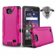 HOT PINK BRUSHED ARMOR SHOCKPROOF HYBRID COVER PHONE CASE FOR ZTE MAJESTY PRO