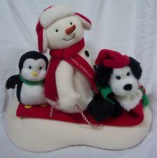 Hallmark Jingle Pals 2007 ANIMATED SNOWMAN W/ PENGUIN DOG ON SLED Plush Display