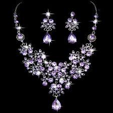 Shining Wedding Party Rhinestone Crystal Pendant Necklace Earrings Jewelry Sets