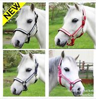 NEW IN DIAMANTE PADDED HEADCOLLARS SHETLAND PONY ,COB OR FULL SIZE 4 COLOURS