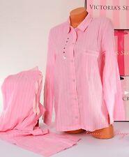 NWT Victoria's Secret Pajama Set Sleep Long Sleeve Button-up Shirt Pant  M Pink