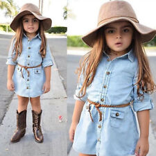 Toddler Baby Girls Dress Long Sleeve Denim Jeans Shirt Tops Dresses Kids Clothes
