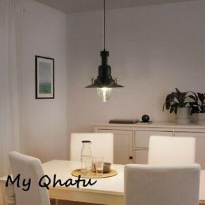 IKEA OTTAVA Pendant Ceiling Lamp  Lampshade Black Aluminum /Glass New