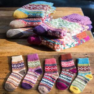 5 Pairs Women Warm Wool Thick Winter Socks Nordic Stripe Style Novelty Socks UK