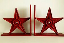 Vintage Large Cast Iron Center Hole Red Star Anchor Plate Bookends