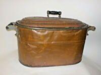 Primitive Antique Copper Wash Tub w/Lid Canning Kettle Pot Wood Handles