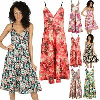 Womens Mini Skater Dress Ladies Flared Top Cami Strappy Wrap Over Swing Dresses