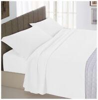 Completo letto matrimoniale bianco cotone set lenzuola 2 federe sotto sopra
