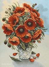 WALL JACQUARD WOVEN TAPESTRY Red Poppies in Vase EUROPEAN FLORAL DECOR PICTURE