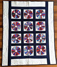 Handmade Dresden Plate Quilt Red White Blue Patriotic Applique Americana Decor