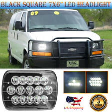 For Chevrolet Express Cargo Van 7x6 inch Square Black LED Headlight  Hi Lo Beam