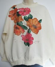 CREAM Roses applique WINDCHEATER Size 14 16 As New #Sunday Market