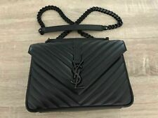 .**YSL YVES Saint Laurent 100% Authentic College Monogram medium Bag black