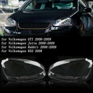 For VW Rabbit Jetta GTI 06-09 R32 Front Headlight Lens Headlamp Clear Cover Pair