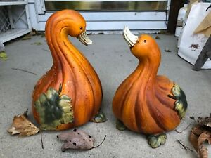 "2~Squash/Gourd Designed Ceramic Fall Holiday Ducks  9""-9-1/2"" High~Adorable"