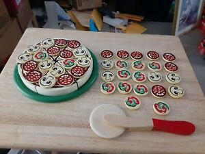 MELISSA & DOUG PIZZA PARTY WOODEN PLAY FOOD PRETEND PIZZA, PAN, CUTTER & 40...