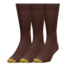 $44 GOLD TOE Men 3 PAIR PACK METROPOLITAN Crew DRESS SOCKS Brown Nylon SHOE 6-12