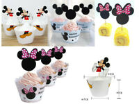 24pcs Mickey&Minnie Cupcakes Toppers Cupcake Birthday Wedding Party Decorations