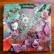 """Grow"" 8x8'' Found Item Collage Art Mixed Media Original Artwork Canvas Paint"