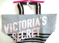 VICTORIAS SECRET TOTE BOOK BEACH GYM PURSE SHOPPING BAG PINK GRAY STRIPE NWT