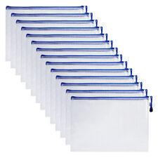 15pcs Office Plastic Zippered Gridding A4 Paper Document Pen File Bag Organizer