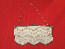 Badgley Mischka Evening Clutch Silver Beaded Leather Biege
