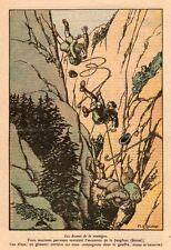 SUISSE JUNGFRAU CHUTE ALPINISTES FRANCAIS IMAGE 1928 OLD PRINT