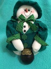 Soft Cloth• Felt Irish /St. Patrick's Day Smiling Snowman • Pot Of Gold