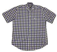 Faconnable Mens Medium Multicolor Plaid Short Sleeve Button Down Shirt
