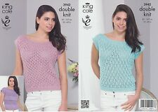 King Cole Womens Double Knitting Pattern Ladies Smooth DK Short Sleeved Top 3942