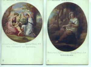 2 Bartolozzi Tuck Postcards No.1741 GRISELDA, THE BIRTH OF BACCHUS