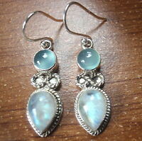 Chalcedony and Moonstone Infinity Love 925 Sterling Silver Dangle Earrings