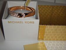 MICHAEL KORS Rose Gold ASTOR HERITAGE BANGLE BRACELET Crystals MKJ4904791 + BOX