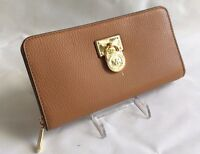 NWT Michael Kors Hamilton Traveler Acorn Gold LG Zip Around Wallet MK Pad Lock