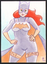 """BatGirl "" from ""Batman "" sexy pin up Sketch card by Artist Turtle Original Art"