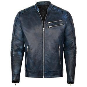 Mens Real Leather Biker Vintage Motorcycle Jacket Distressed Navy Blue Coat