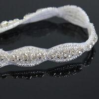 1 Yard Bridal Costume Sash Rhinestone Trim Sewing Craft Crystal Applique Silver